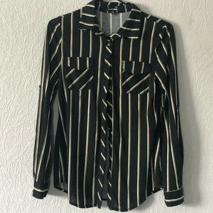 Striped Button Down Shirt with Collar